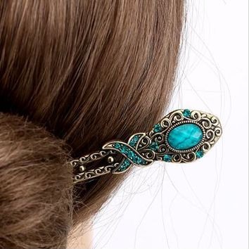 Retro Simple Resin Stone Hair Stick Antique Bronze Hairpin Bohemian Style Metal Women Hair Jewelry