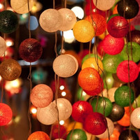 Sale 2 Sets of  20 x mix color cotton ball string light patio outdoor decoration deco room bedroom wedding patio party oriental asia