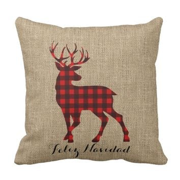 Burlap & Lumberjack Plaid Deer Throw Pillow