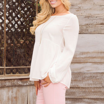 Allure Lace Up Top - White