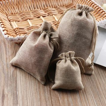 10PCS/Pack Christmas Pattern Party Wedding Favor Hessian Burlap Jute Gift Bags 3Sizes Colorful Drawstring Pouch Home Decor