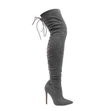 Fever Grey Suede Back Lace Up Thigh High Boot