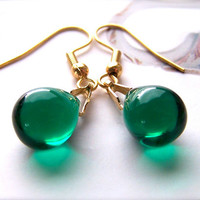 Green Earrings, Teardrop Beads, Forest Green, Gold, Classic Small Emerald Drop Earrings for Women