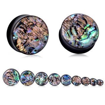 ac ICIKO2Q 1Pair Vintage Acrylic Ear Tunnel Plugs Trendy Abalone Shell Gauges Plugs Expanders Body Piercing Jewelry For Women Female 8-25mm