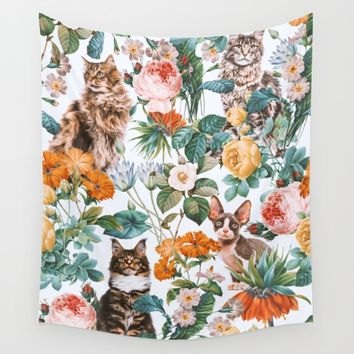 Cat and Floral Pattern III Wall Tapestry by Burcu Korkmazyurek