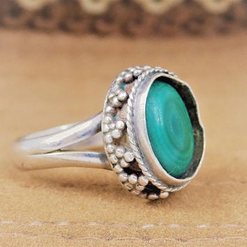 Sterling Malachite Ring, Green Stone, Vintage Rings