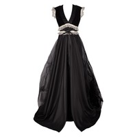 Long Black and Cream Lace Overlay Gothic Dress