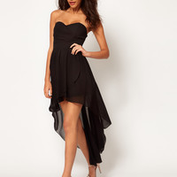 TFNC Pleated Chiffon Bandeau Hi Lo Dress at asos.com