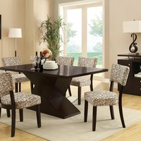 7 pc Libby II collection modern style espresso finish wood rectangular pedestal dining table set