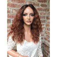 """Red Ombré Human Hair Blend Multi Parting Lace Front Wig 20"""" 41724"""