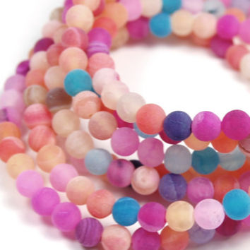 6mm Frosted Agate Round Beads in Tropical Mix  -15 inch strand