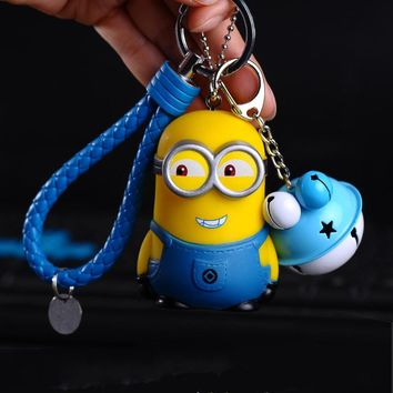 Anime Cartoon  Cute Minions Keychains Leather Rope Bells Key Holder Kids Toy Gift Key Ring Hanging Accessories car Pendant
