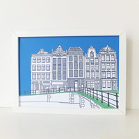 Amsterdam Print, Blue print, artwork, Picture of Amsterdam, Holland, Illustration of Amsterdam, Picture of Canal Houses