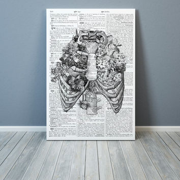 Anatomy poster Black and white decor Rib cage print
