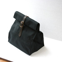 Black Waxed Canvas Lunch Bag, Ready to Ship!