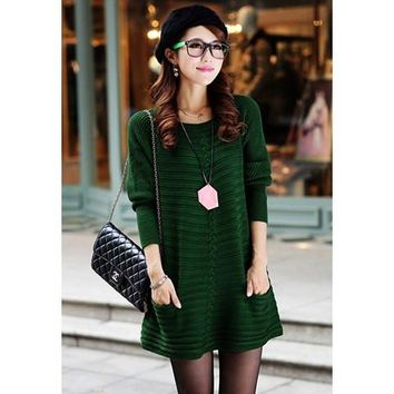 Green Long Sleeve Sweater Dress with Pockets