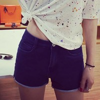Stylish High-Waisted Turn-Up Design Denim Shorts For Women