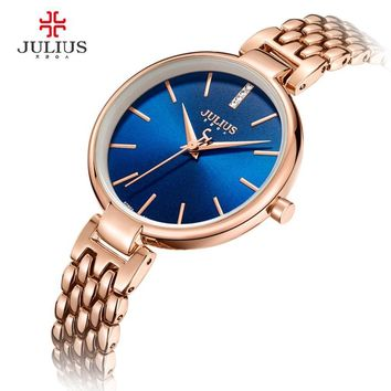 JULIUS Women Watches With Gifts Box 30M Waterproof Quartz Dress Whatch Silver Rose Gold Fashion Clock Hour JA-960