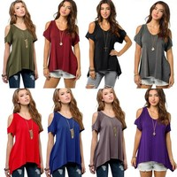 Fashion Casual T-shirts Tops Soft Cotton Blouse