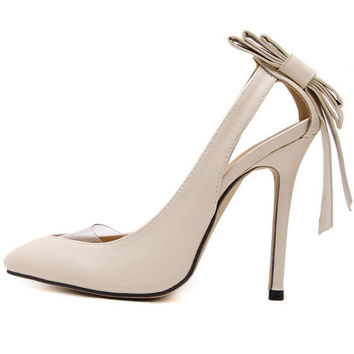 Bow-knot Pointed toe thin heels