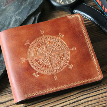 Mens wallet husband gift for dad Leather wallet inspirational quote Personalized wallet mens leather wallet compass slim wallet hannibal