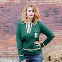vintage 1970s sweater / green sweater vintage / pullover sweater / hipster boyfriend sweater / striped retro knit sweater / womens sweaters