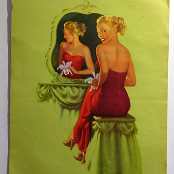 Vintage Mid century pin up girl lithograph poster, Hufford Special Occasion print