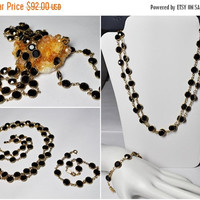 "ON SALE Vintage SWAROVSKI Gold & Black Crystal Bezel Set, Demi, Necklace and Bracelet, 35"" Long,  8mm Bezel, Extender, Fabulous! #A766"