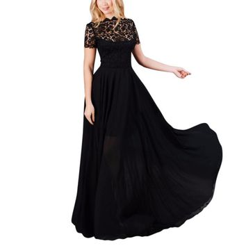 Women Long Maxi Dress Sexy Lace Evening Party Ball Prom Gown Formal Dresses