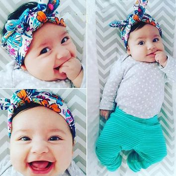One piece Cute Baby Printing Rabbit Ears Knot Headband Beautiful and Comfortable Baby/girls Hair Accessories