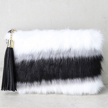 Go Fur It Black and White Faux Fur Clutch