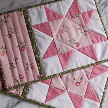 Shabby Chic Mug Rugs - Mini Quilts - Place Mats - Candle Mats - Pink - White - Green - Sawtooth Star - Set of 2
