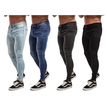 Gingtto Skinny Jeans For Men Black Streetwear Hip Hop Stretch Jeans