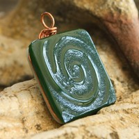 Green Spiral Fused Pendant, Reversible, Copper Wire Wrapped, Mens