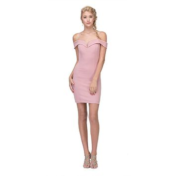 Off Shoulder Sweetheart Neckline Cocktail Dress with Spaghetti Strap Dusty Pink
