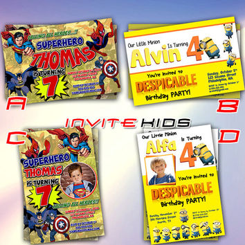 Superhero Marvel and Minion DespicbleMe - Invitation Card - Birthday Party Kids - InviteKids