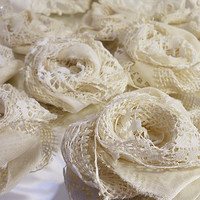 "Set of 10, 3"" Handmade Ivory Burlap & Lace Flowers for weddings, bouquet making, wedding decor, scrapbooking, gifts, crafts ""READY TO SHIP"""