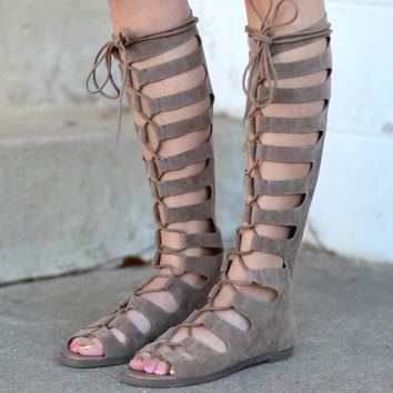 Rita Tall Lace Up Gladiator Sandals {Beige}