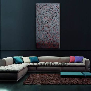 Black and Gray Jackson Pollock Look Acrylic Painting on Canvas, Vertical Abstract Painting Wall Art, Home on Office Decor (121.92 x 60.96cm)