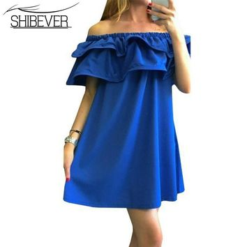 Fashion Women Dresses Summer Casual Off Shoulder Woman Beach Dress Sexy Plus Size Party Dresses Vestidos VD1329