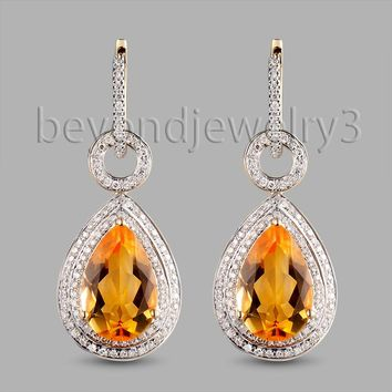 14KT Yellow Gold Natural Citrine Earring Drop Pear 10x14mm Solid Citrine Jewelry