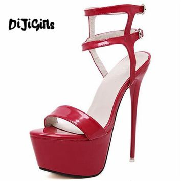 Sexy Fetish Clubwear Party Shoes Ultray Extremely Very High Heel Strapy Platform Sandals Stiletto Ankle Strap Pumps