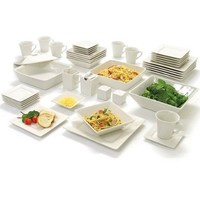 10 Strawberry Street Nova Square Banquet 45-piece Dinnerware Set, Cream White