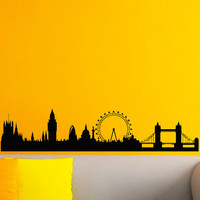 Vinyl Wall Decals London Skyline City Silhouette Sticker Home Decor Art Mural Z597
