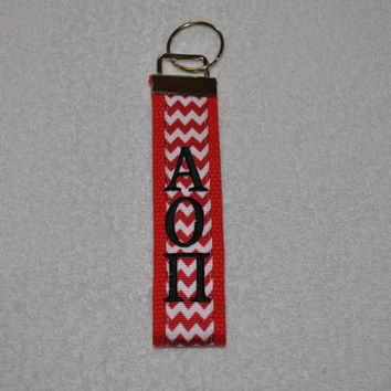 Alpha Omicron Pi Sorority (OFFICIAL LICENSED PRODUCT) Monogrammed/Embroidery Key Fob Keychain Cotton Webbing Ribbon Wristlet