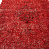 Handmade Overdyed Turkish Carpet Red  - Vintage Turkish Rug- (217 X 295 cm)(7,1 ft X 9,6 ft)
