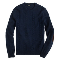 J.Crew Mens Slim Rustic Merino Cable Elbow-Patch Sweater