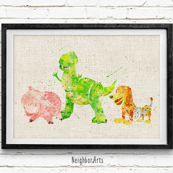 Disney, Toy Story Watercolor Print, Baby Nursery Room Art, Home Decor, Not Framed, Buy 2 Get 1 Free!