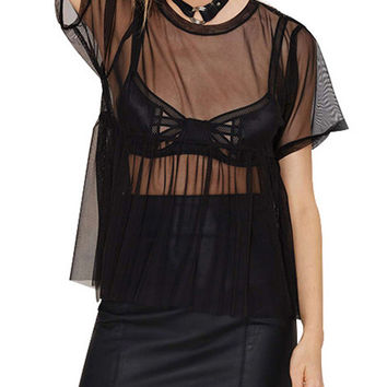 Black Sheer Mesh Pleated Shirt