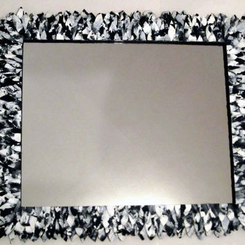 "Large Black and White Feather Mirror, Leather Feather Bathroom Mirror like Anthropologie 22"" x 26"""
